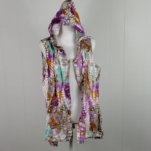 For Cynthia : Tie Dye Hooded Linen Blend Vest
